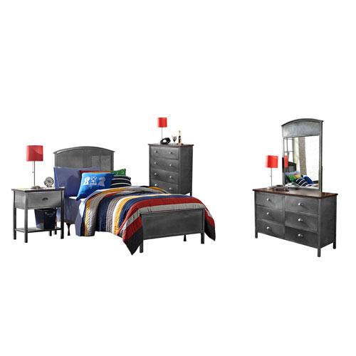 Urban Quarters Black Steel Twin 5-Piece Panel Bed Set