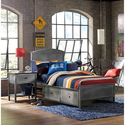 Urban Quarters Black Steel Panel Full Storage Bed With Rails