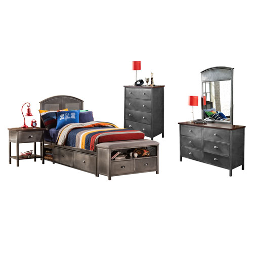 Urban Quarters Black Steel 5-Piece Panel Full Storage Bed Set with Footboard Bench