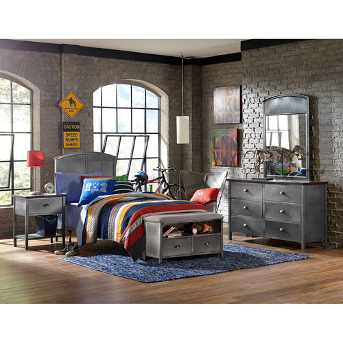 Urban Quarters Black Steel 4-Piece Panel Twin Bed Set with Footboard Bench