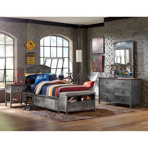 Hillsdale Furniture Urban Quarters Black Steel 4-Piece Panel Twin Storage Bed Set with Footboard Bench