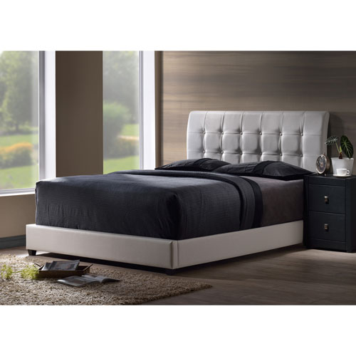 Lusso Twin Bed Set with White Faux Leather Fabric