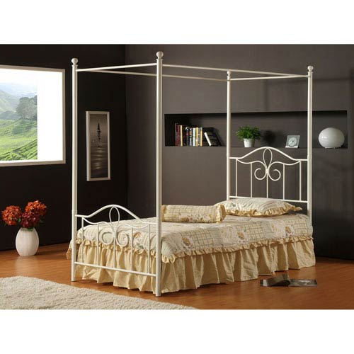Westfield Off White Twin Canopy Bed