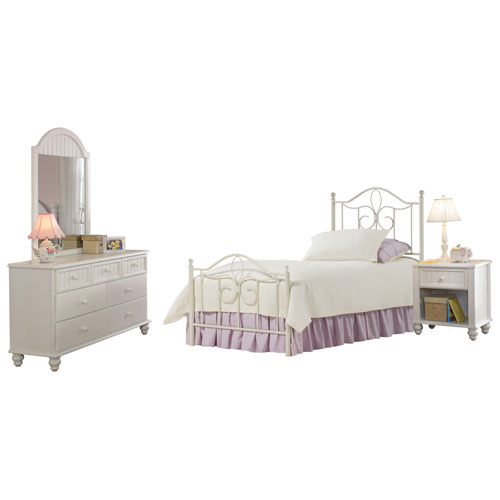 Westfield Off White Metal Twin 4-Piece Bed Set