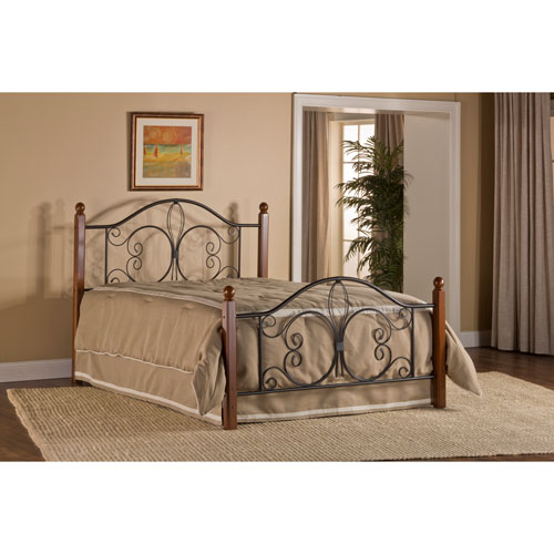 Milwaukee Textured Black Wood Post King Headboard and Footboard Without Rails