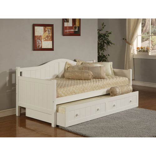 Hilale Furniture Staci White Daybed With Roll Out Trundle