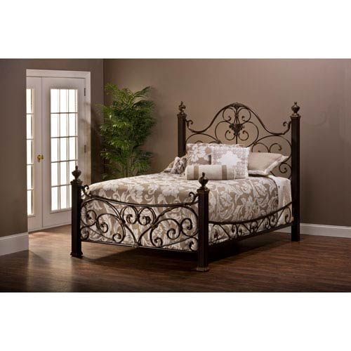 Mikelson Antique Gold Queen Complete Bed With Rails