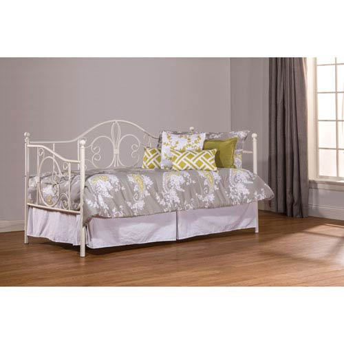 Ruby White Daybed with Suspension Deck and Roll Out Trundle