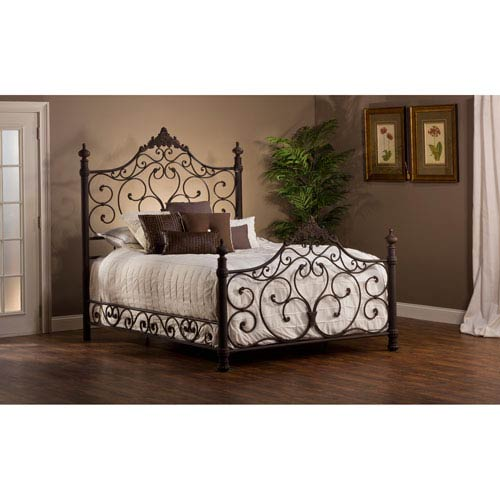 Baremore Antique Brown King Complete Bed With Rails