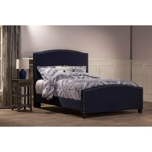 Kerstein Navy Linen Queen Complete Bed With Rails