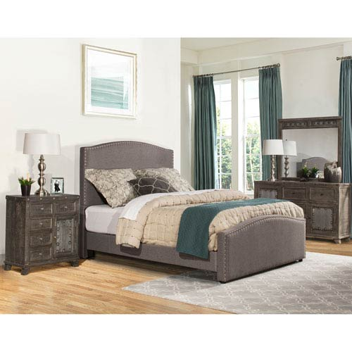 Hillsdale Furniture Kerstein Cal King Bed Set with Rails - Orly Gray Fabric