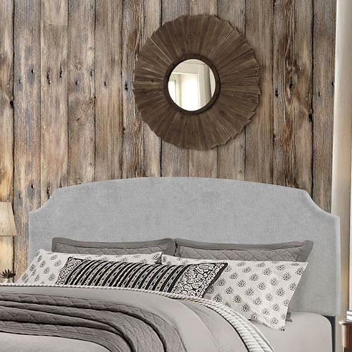 Desi King Headboard with Frame - Glacier Gray Fabric