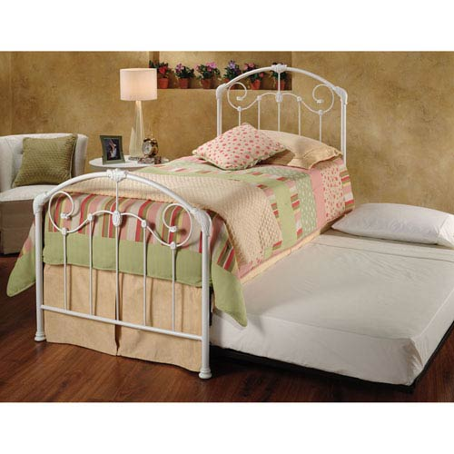 Maddie Glossy White Twin Complete Bed with Trundle