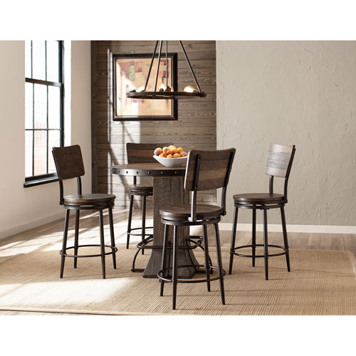 Hillsdale Furniture Jennings 5-Piece Round Counter Height Dining Set with Swivel Counter Stools