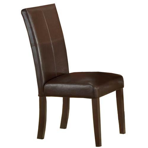Monaco Matte Espresso Dining Side Parson Chair, Set of Two
