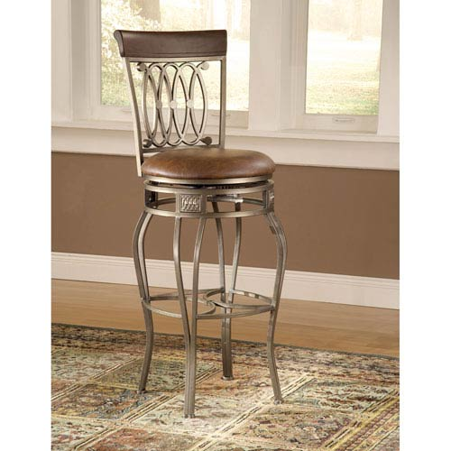 Montello Old Steel Swivel Barstool with Brown Faux Leather