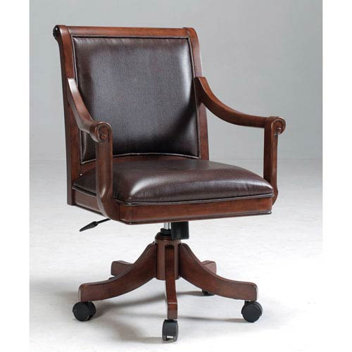 Hillsdale Furniture Palm Springs Medium Brown Cherry Game Chair with Dark Brown Bonded Leather with Five Star Base