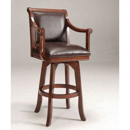 Hillsdale Furniture Palm Springs Medium Brown Cherry Swivel Barstool with Dark Brown Bonded Leather