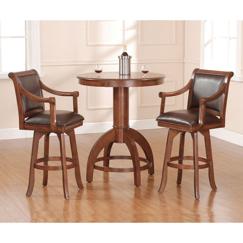 Palm Springs Medium Brown Cherry 42-Inch Bistro Table and Two Bar Stools