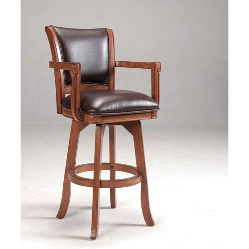 Hilale Furniture Park View Medium Brown Oak Swivel 30 Inch Barstool With Dark Bonded Leather