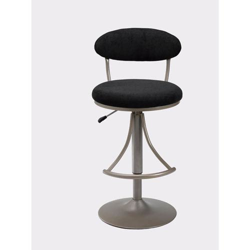 Venus Champagne Metallic Powder Coat Swivel Adjustable Barstool with Black Microfiber