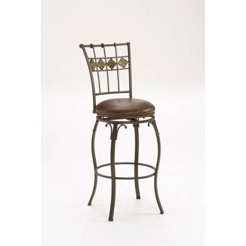 Hillsdale Furniture Lakeview Brown Swivel Barstool with Slate Back
