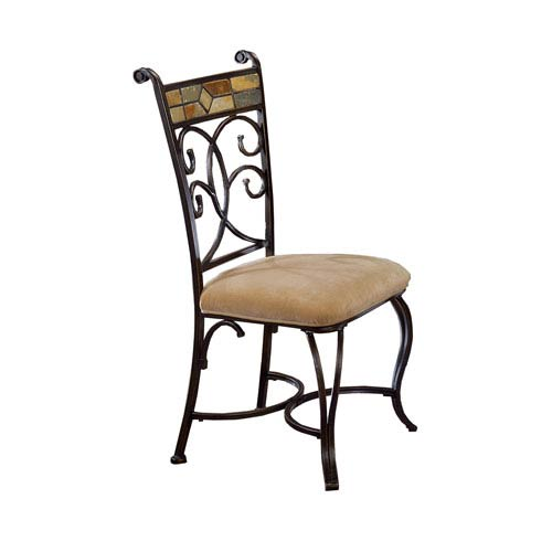 Pompei Black Gold/Slate Mosaic Slate Dining Chair, Set of Two