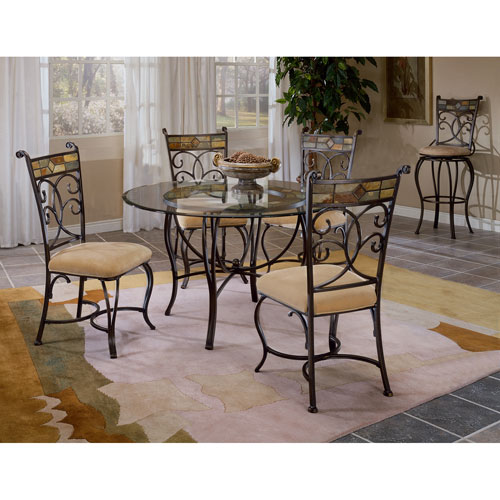 Hillsdale Furniture Pompei Black Gold/Slate Mosaic Dining Table Set with Four Chairs
