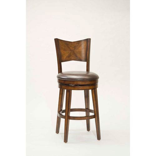 Hilale Furniture Jenkins Rustic Oak Wood Panel Back Swivel Barstool