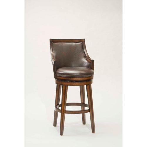 Lyman Rustic Oak Upholstered 30.5inch Back Wood Swivel Barstool