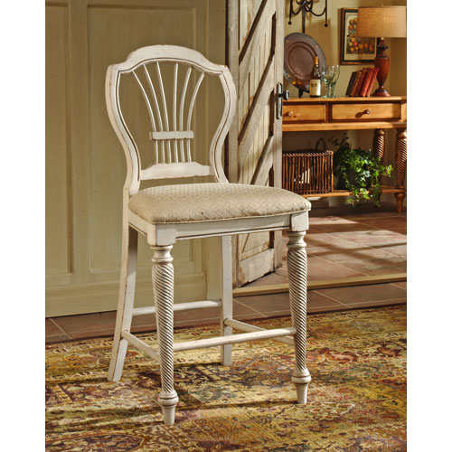 Hillsdale Furniture Wilshire Antique White Non-Swivel Counter Stool, Set of Two