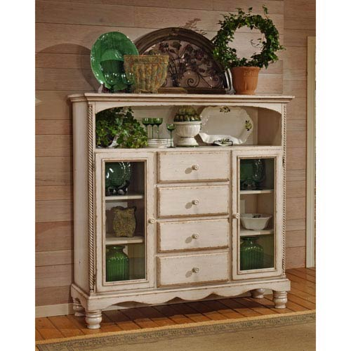 Wilshire Antique White Meadow Brook Baker Cabinet with Four Drawers