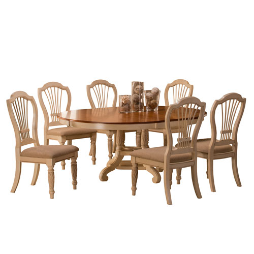 Hillsdale Furniture Wilshire Antique White Round Dining Table and Six Chairs - Hillsdale Furniture Wilshire Antique White Round Dining Table And