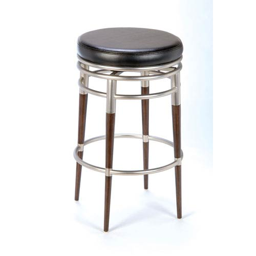 Salem Brushed Chrome/Dark Brown Maple Backless Swivel Metal Barstool