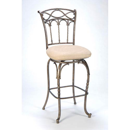 Kendall Pewter with Antique Bronze Highlights Metal Swivel Barstool