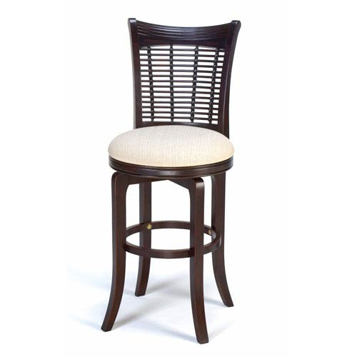 Hillsdale Furniture Bayberry Dark Cherry Wood Swivel Counter Stool with Fabric Seat