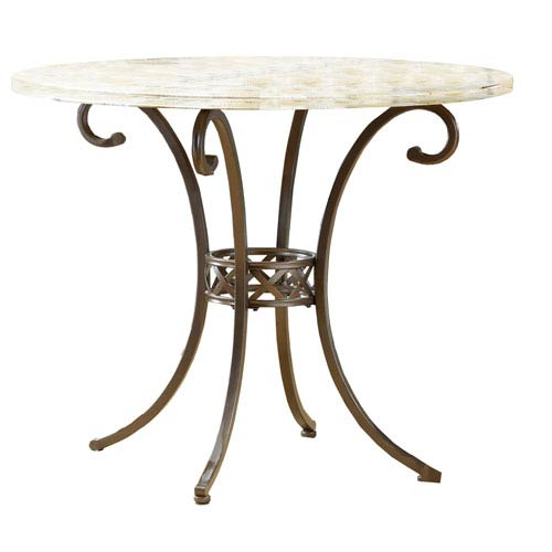 Brookside Brown Powder Coat Stone Top Counter Height Dining Table