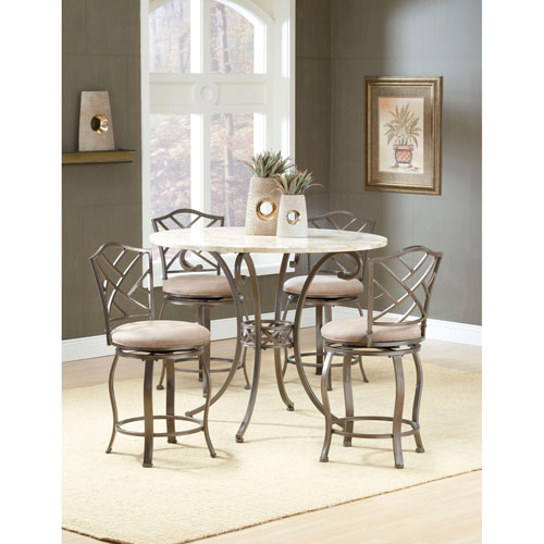 Hillsdale Furniture Brookside Brown Powder Coat Gathering Table and Four Hanover Counter Stools