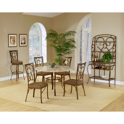 Attirant Hillsdale Furniture Brookside Brown Powder Coat Metal Round Dining Table  With Four Oval Back Chairs