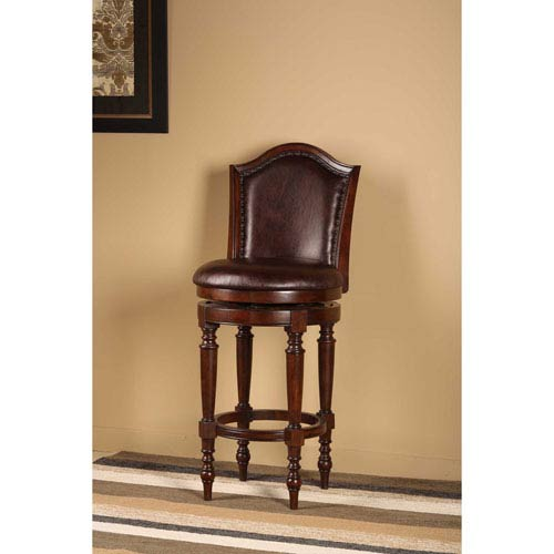 Barcelona Brown Cherry Swivel Counter Stool