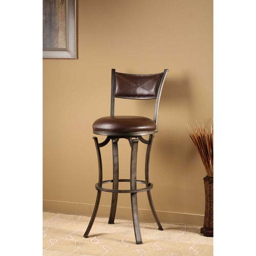 Drummond Rubbed Pewter Swivel Bar Stool