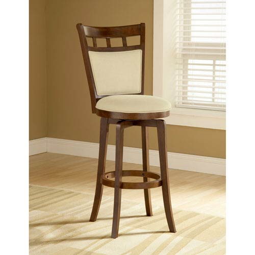 Hilale Furniture Dynamic Designs Brown Cherry Jefferson Wood Swivel Barstool