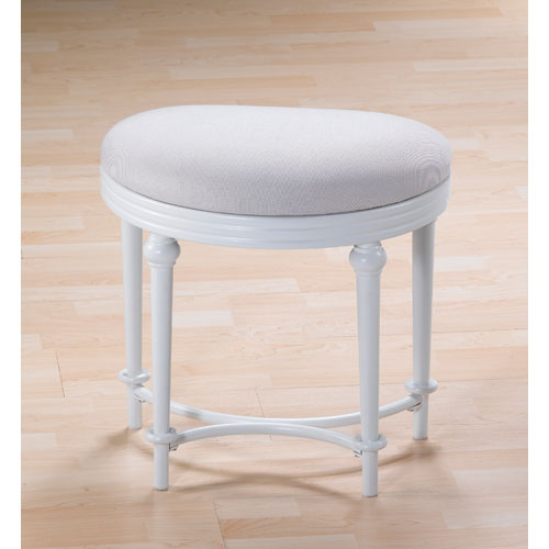 Hampton Matte White Half Moon Vanity Stool with Linen Fabric