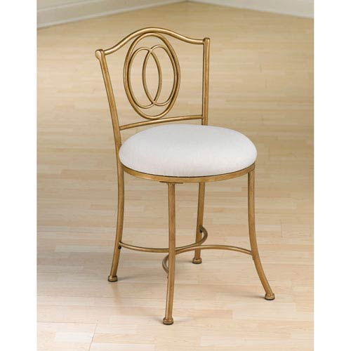 Emerson Golden Bronze Vanity Stool with Linen Fabric