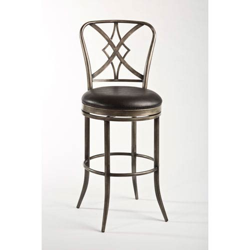 Jacqueline Rubbed Pewter and Black 42.25-Inch Counter Stool