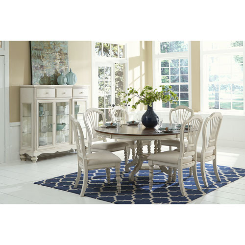 Pine Island Old White 7 Piece Round Dining Set with Wheat Back Chairs