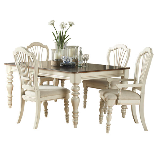 Pine Island Old White Five Piece Dining Set with Wheat Back Chairs