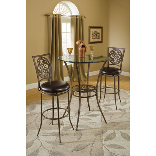 Marsala Grey and Rust Bar Height Three Piece Bistro Dining Set