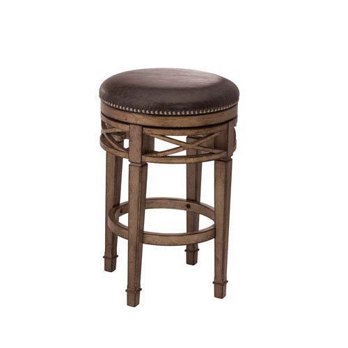 Chesterfield Gold Backless Swivel Counter Stool