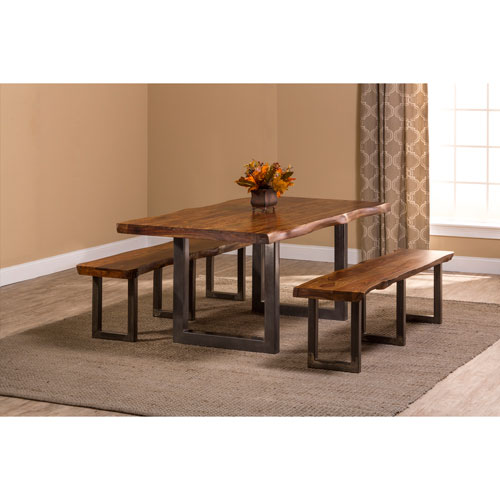 Emerson Natural Sheesham 3-Piece Rectangle Dining Set with 2 Benches
